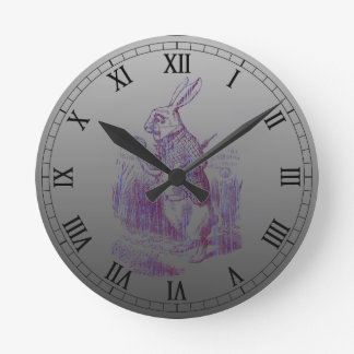 White Rabbit Letterpess Style Round Clock