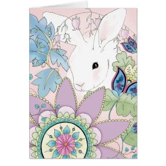 White Rabbit Pink Floral Greeting Card