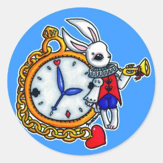 White Rabbit pocket watch Classic Round Sticker