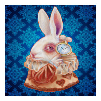 White Rabbit Pop Surrealism Illustration Poster