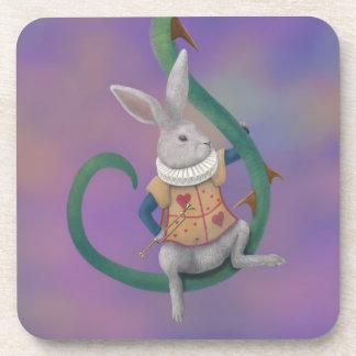 White Rabbit Rose Thorns Alice in Wonderland Beverage Coasters