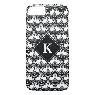 White Rabbit & Roses Damask Print Case-Mate iPhone Case