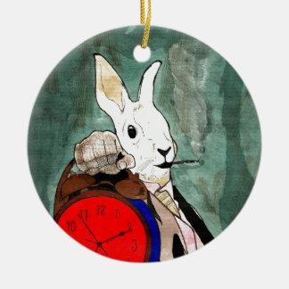 white rabbit round ceramic ornament