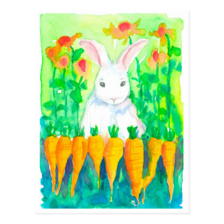 White Rabbit Spring Garden Postcard