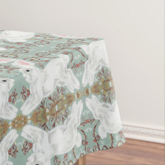 White Rabbit Tablecloth Christmas Berry Soft Green