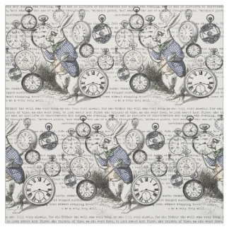 White Rabbit Time Alice in Wonderland Fabric