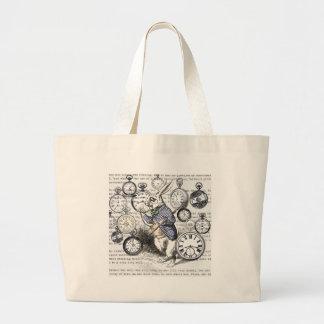 White Rabbit Time Alice in Wonderland Large Tote Bag