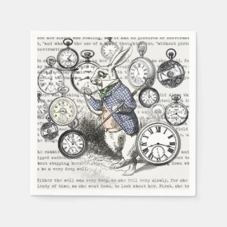 White Rabbit Time Alice in Wonderland Paper Napkins