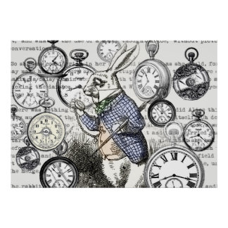 White Rabbit Time Alice in Wonderland Poster