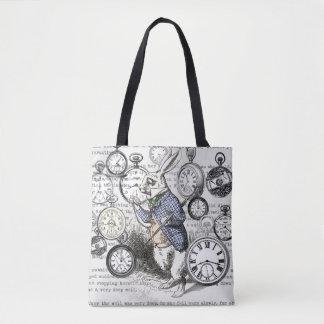 White Rabbit Time Alice in Wonderland Tote Bag