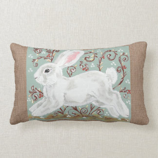 White Rabbit Vines Berries Green, Burlap Pillow