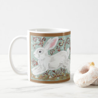 White Rabbit Vines Berries Seasonal Moss Green Mug