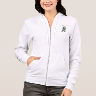 White rabbit with clock hoodie