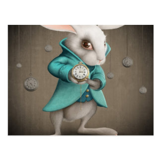 white rabbit with clock postcard