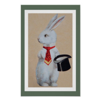 White Rabbit with Tophat Poster