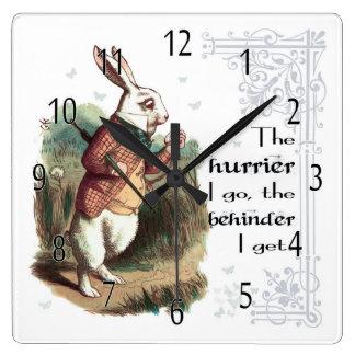 White Rabbit Wonderland Clock, The Hurrier I go Square Wall Clock