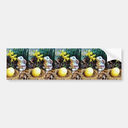 White Rabbit, yellow Easter egg Bumper Stickers