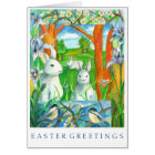 White Rabbits Chickadee Birds Happy Easter Card
