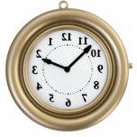 White rabbit's funny clock photo cutout