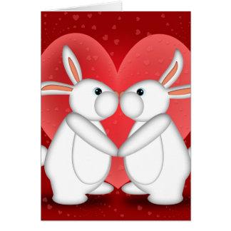 White Rabbits Kissing Greeting Card