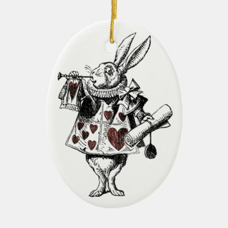 White Rabbits of Hearts - Alice in Wonderland Ceramic Oval Ornament