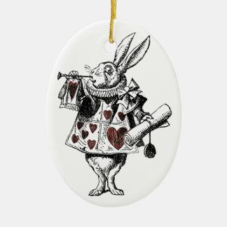 White Rabbits of Hearts - Alice in Wonderland Ceramic Oval Ornament