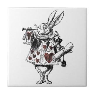 White Rabbits of Hearts - Alice in Wonderland Ceramic Tiles