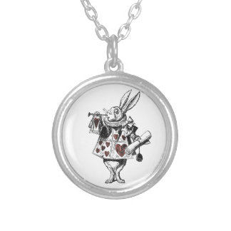 White Rabbits of Hearts - Alice in Wonderland Silver Plated Necklace