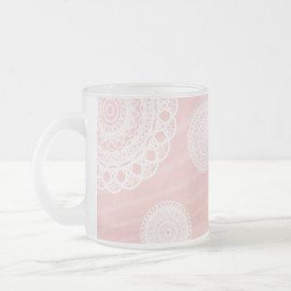 White race/lace frost glass Mugs pink