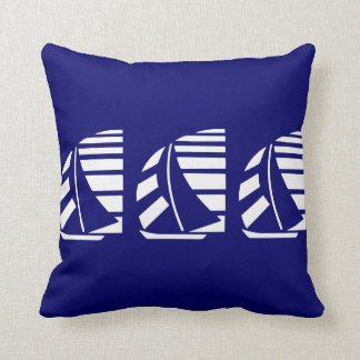 White Racing Sailboats on Blue Throw Pillow