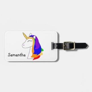 White rainbow hair unicorn luggage tag