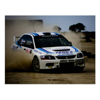 White Rally Car Postcard
