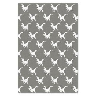 White Raptors Dinosaurs Print Tissue Paper