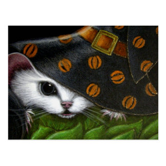 WHITE RAT MOUSE WITH WITCH HALLOWEEN HAT POSTCARD