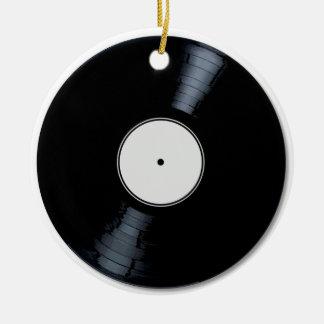 White Record Label Ceramic Ornament