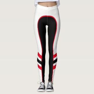 White/Red/Black Side Band Leggings