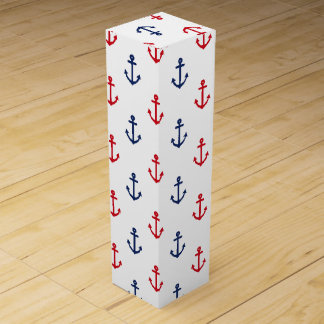 White Red Blue Nautical Anchor Pattern Wine Gift Box