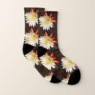 White & Red Cactus Flower Socks