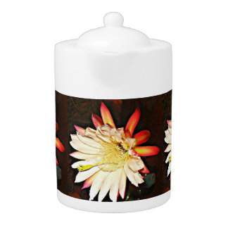 White/Red Cactus Flower Tea Pot