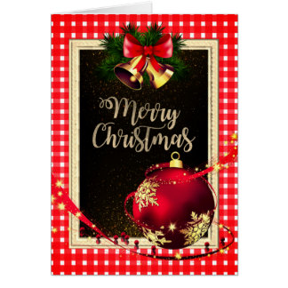 White & Red Checked Christmas Greeting Card