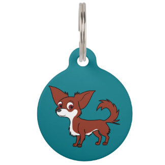 White & Red Chihuahua with Long Hair Pet ID Tag