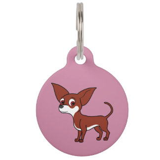White & Red Chihuahua with Short Hair Pet Name Tags
