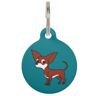 White & Red Chihuahua with Short Hair Pet Tags