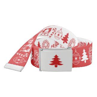 White/Red Christmas Font Art Pattern Belt