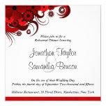 White & Red Floral Wedding Rehearsal Dinner Invite