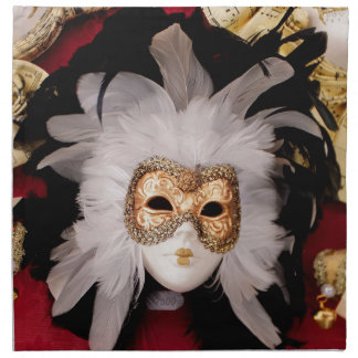 White / Red / Gold / Black Venetian Mask Napkin