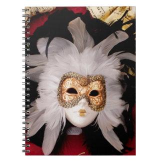 White / Red / Gold / Black Venetian Mask Notebooks