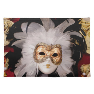 White / Red / Gold / Black Venetian Mask Placemat