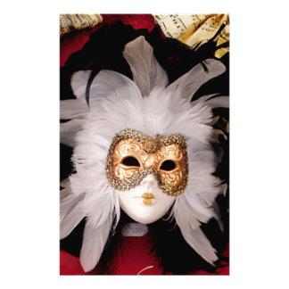 White / Red / Gold / Black Venetian Mask Stationery