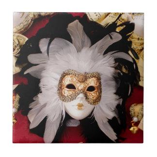 White / Red / Gold / Black Venetian Mask Tile
